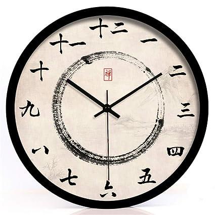 Stylish Silent Wall Clock Home Kitchen Office Nuevo Reloj de pared de Tinta China Zen Road