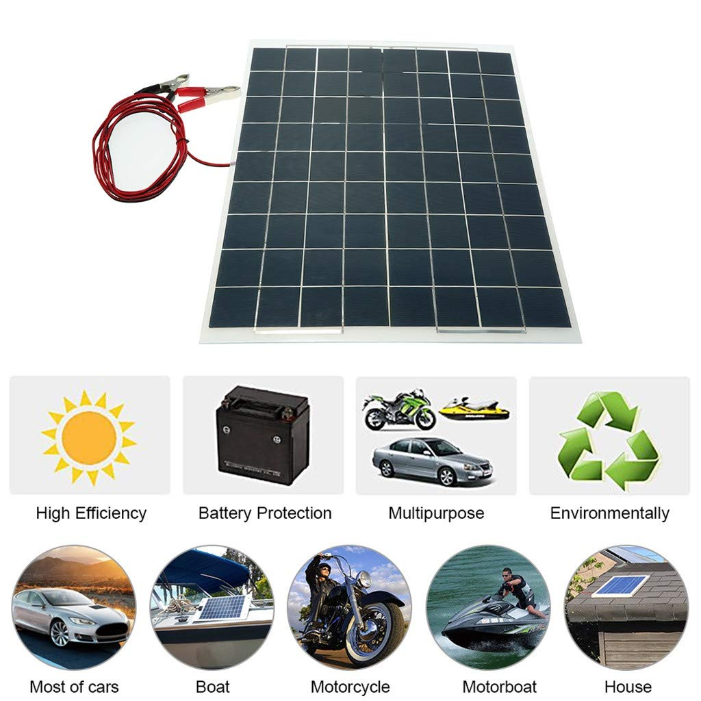 Sonmer Semi Flexible Solar Panel Battery Charger,12V,30W by Sonmer (Image #4)