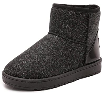 Women's Glitter Sequins Flat Thick Faux Fur Lined Pull On Snow Boots Winter Booties