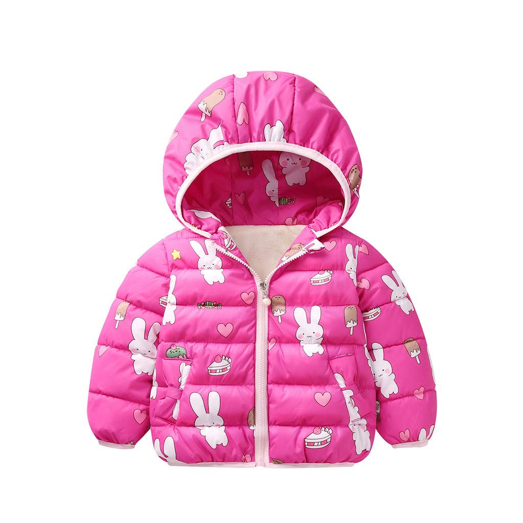 BFYOU Toddler Baby Girls Winter Cartoon Windproof Coat Hooded Thicken Outwear Jacket Hot Pink by BFYOU_ Girl Clothing