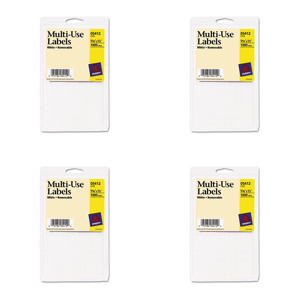Avery Removable Rectangular Labels, 0.31 x 0.5 Inches, White, Pack of 1100 (5412), 4 Packs
