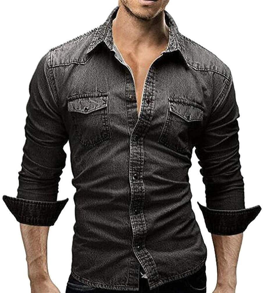 Hajotrawa Men Faded Pocket Hip Hop Denim Long Sleeve Button Down Shirts