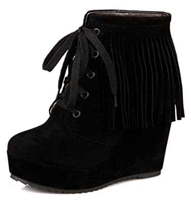e430d00d6ccfc IDIFU Women's Casual Tasseled Fringes Wedge Platform Lace Up Ankle Boots  Booties High Heels Black 4