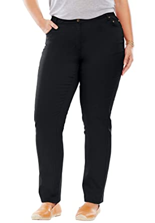 6eede1be576 Woman Within Women s Plus Size Straight Leg Stretch Jean at Amazon ...