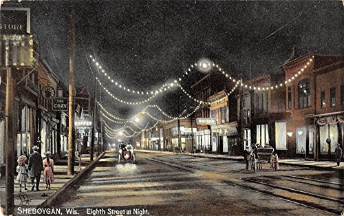 Sheboygan Wisconsin night scene on 8th St horse buggy by Tuck antique pc ()