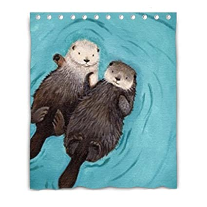 Bernie Gresham Otters Hold Hands Mildew Moisture Proof Shower Curtain Custom 60quot