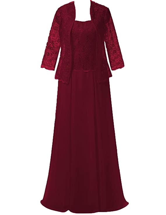 Review Cdress Chiffon Long Mother of The Bride Dresses Lace Jacket Evening Dress Maxi Prom Gowns