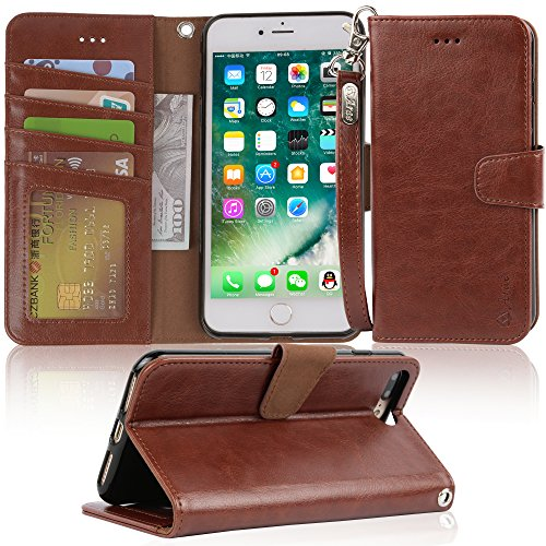 Arae iPhone 7 Plus case, iPhone 8 Plus case, PU Leather Wallet Case with Kickstand and Flip Cover for iPhone 7 Plus (2016) / iPhone 8 Plus (2017) (Brown)