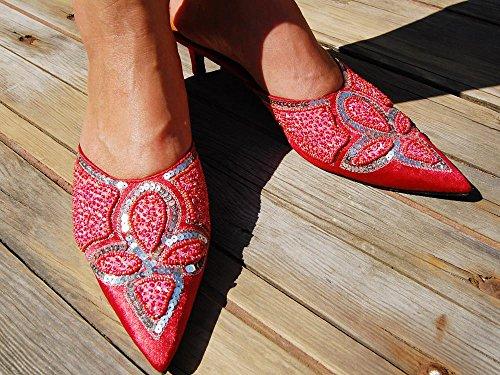 SEESTERN Damen Leder Sandaletten Abendschuh Pumps Pantoletten in Gr.36, 39 & 41 Rottöne