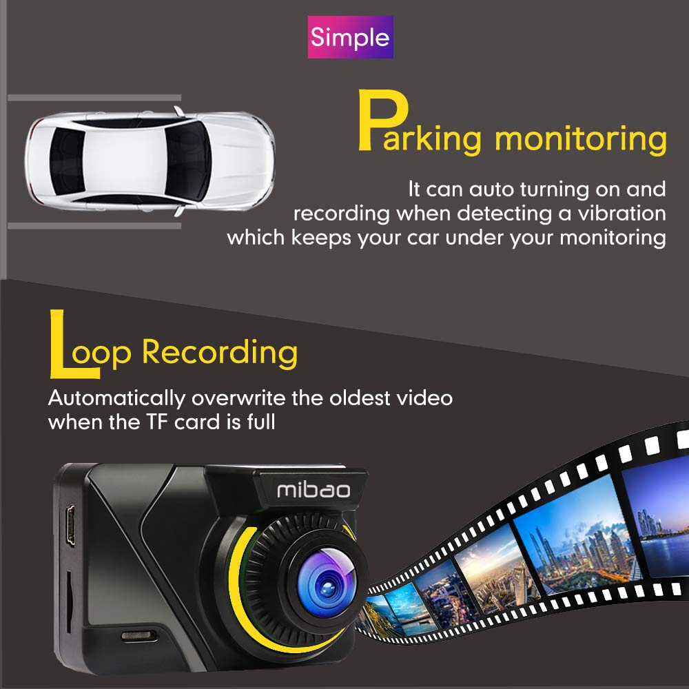170/°Wide Angel Loop Recording FHD 1080P Mibao Dash Cam Dashcams for Cars Cameras with Sony Sensor Parking Monitoring WDR Super Night Vision Motion Detection 6G Lens G-Sensor