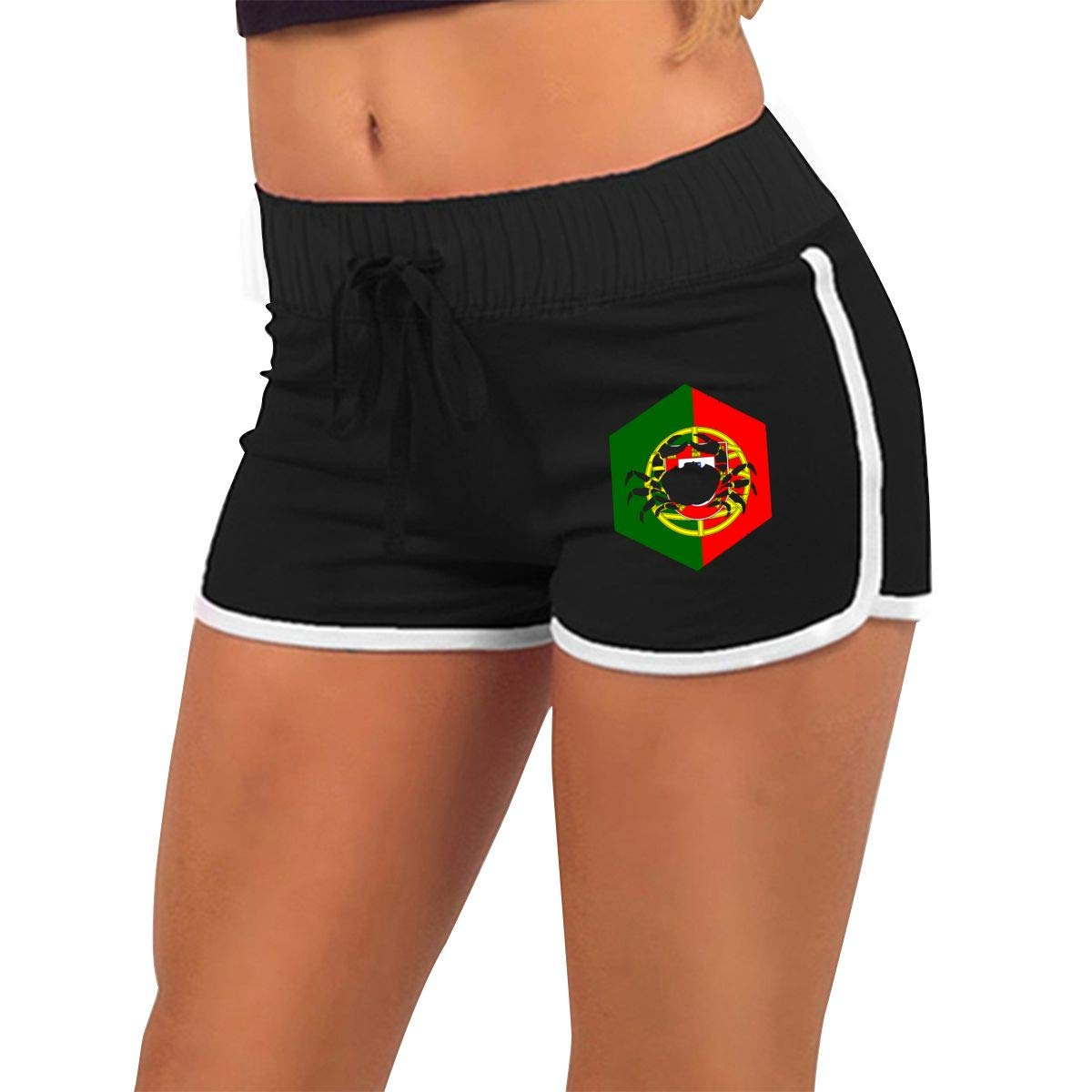 Q22-PI Womens Cancer Portugal Running Active Shorts Pants with Athletic Elastic Waist