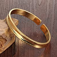 """Stainless Steel 18K Gold Tone C Style Smooth Groove Open Bracelet Bangle Cuff for Women L6.49"""""""
