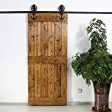 KIRIN Interior Decor 6 FT Barn Door Sliding Hardware Kit Accessories For Single Wood Door (Big wheel anchor shape)