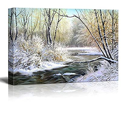 Canvas Prints Wall Art - Winter Landscape with The Wood River - 12