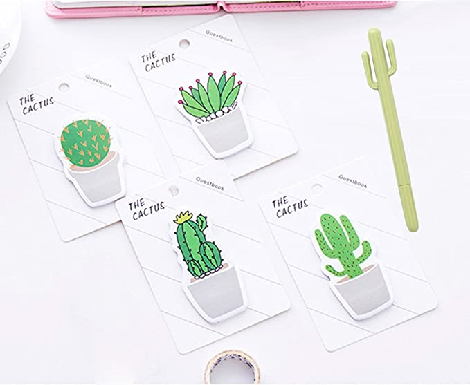 Cactus Pens Cool Pens Set, 6 pcs Cute Things Cactus Ballpoint Pen kawaii Stationery Black Gel Ink Office Writing Pens with Cactus Canvas Pen Case ...