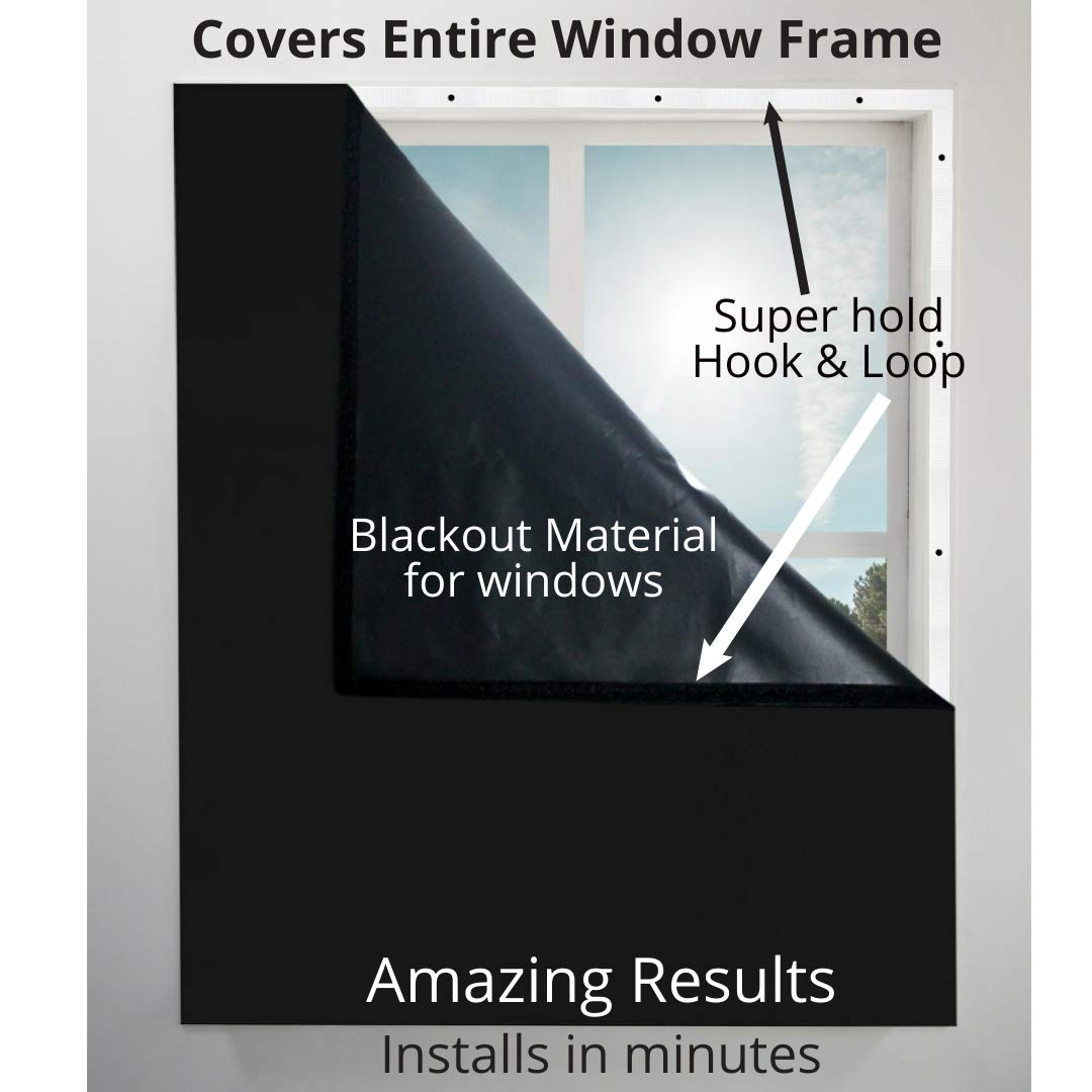 Blackout Window Cover Blocks Light, Blocks Noise, Saves Energy. Covers Entire Window Frame. Great for Bedroom Windows, Privacy, and More - Sleep Better 39'' Wide X 72'' Long (Black) by Sleep EZ Shade (Image #1)