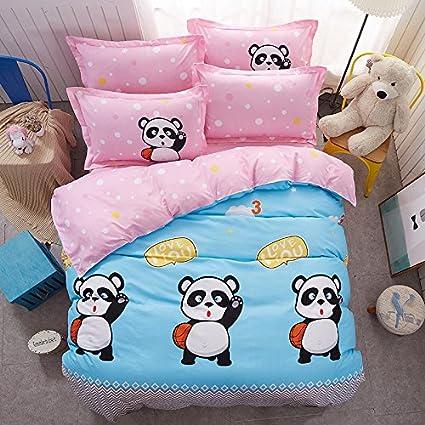 Bed SET 4pcs Bedding Set Duvet Cover Set 100% Combed Cotton Flat Sheet Duvet Cover PillowCase KY Twin Sheets Set 59x79 Milk Cow Happy Childhood Cartoon Design for Kids Adults (Twin, Milk Cow, White) Nova