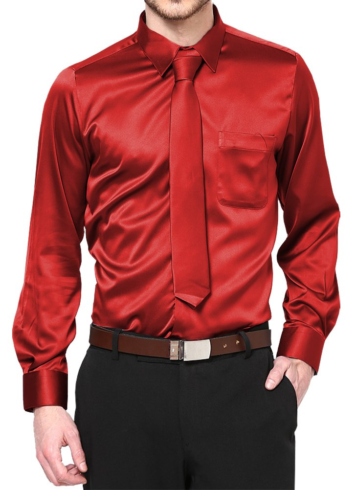 Red Satin Dress Shirt with Neck Tie and Hanky Kids to Youth Sizes (Kid's 4)