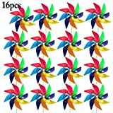 Funpa 16PCS Kids Wind Spinner Colorful Pinwheel DIY Windmill Outdoor Indoor Decor Pinwheel (S)