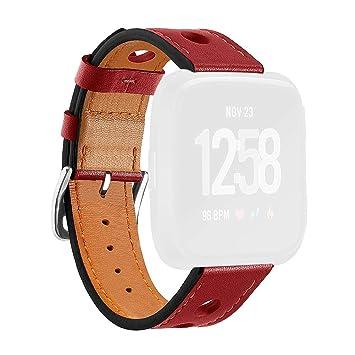 Reloj Inteligente Goodbenemall de Cuero poroso Transpirable Correa de muñeca Reloj Pulsera Banda para Fitbit Versa