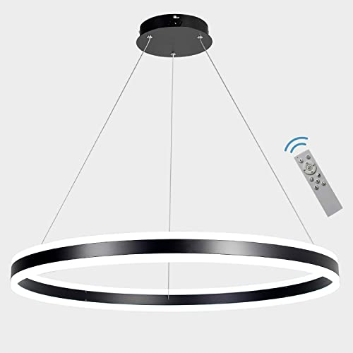 Meenyo Modern Foyer Pendant Light 31.5″Dia Dimmable LED Ring Chandelier