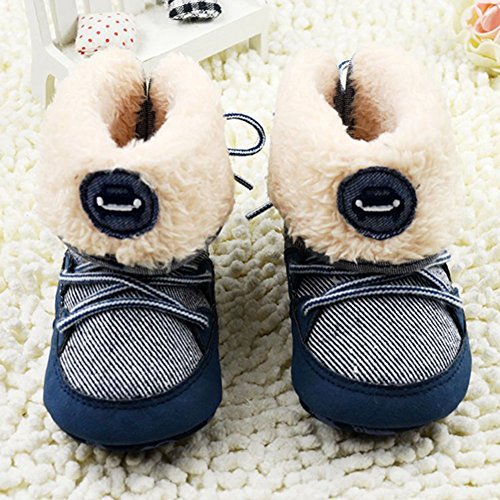 Image of Weixinbuy Baby Boy Lace Up Stripe Soft Bottom Winter Snow Boots