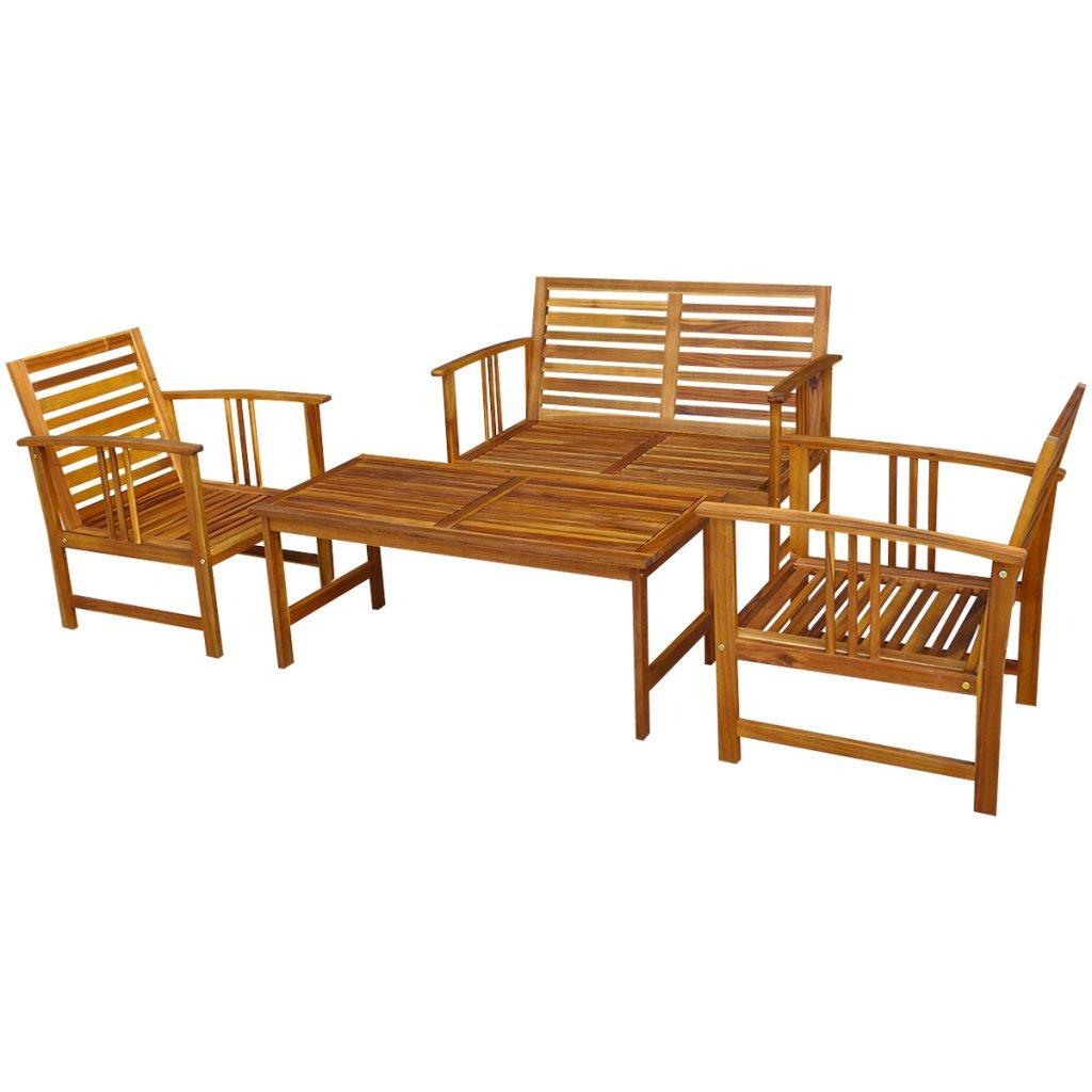 vidaXL 4tlg. Gartenmöbel-Set Holz Sitzgruppe Lounge Sitzgarnitur ...