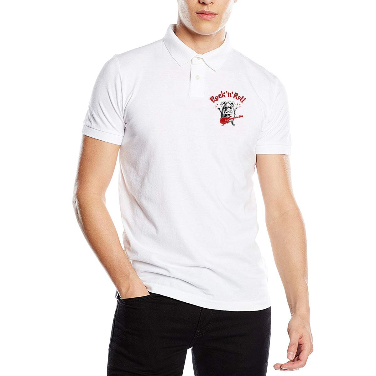SHENGN Mens Design Sweaty Rock and Roll Lettering with Cartoon Pig Short Sleeve Fashion Polo T Shirt White