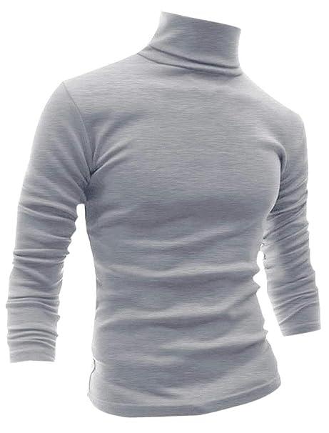 Allegra K Camiseta para Hombres De Mangas Largas Cuello De Cisne ...