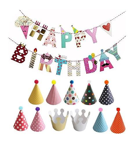 le magasin style actuel chaussures de séparation joyeux anniversaire banderole chapeaux et fournitures couronnes ensemble  coloré partie decorations