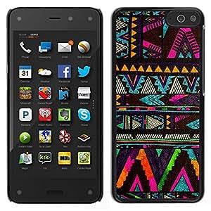 // PHONE CASE GIFT // Duro Estuche protector PC Cáscara Plástico Carcasa Funda Hard Protective Case for Amazon Fire Phone / chevron native American pattern black /