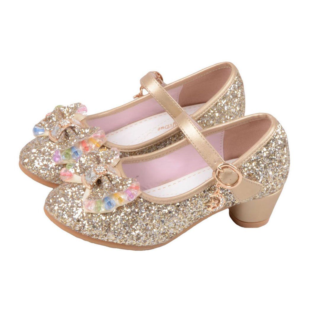 Raylans Girls Glitter Sandals Mary Jane Shoes Glitter Low Heels Princess Cosplay Dress Shoes Golden US 13.5M