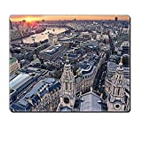 gel kitchen mats uk Mouse Pad Unique Custom Printed Mousepad London Decor Aerial View Of Famous Town With Historical British Architecture Uk Scenery Orange Grey Stitched Edge Non Slip Rubber