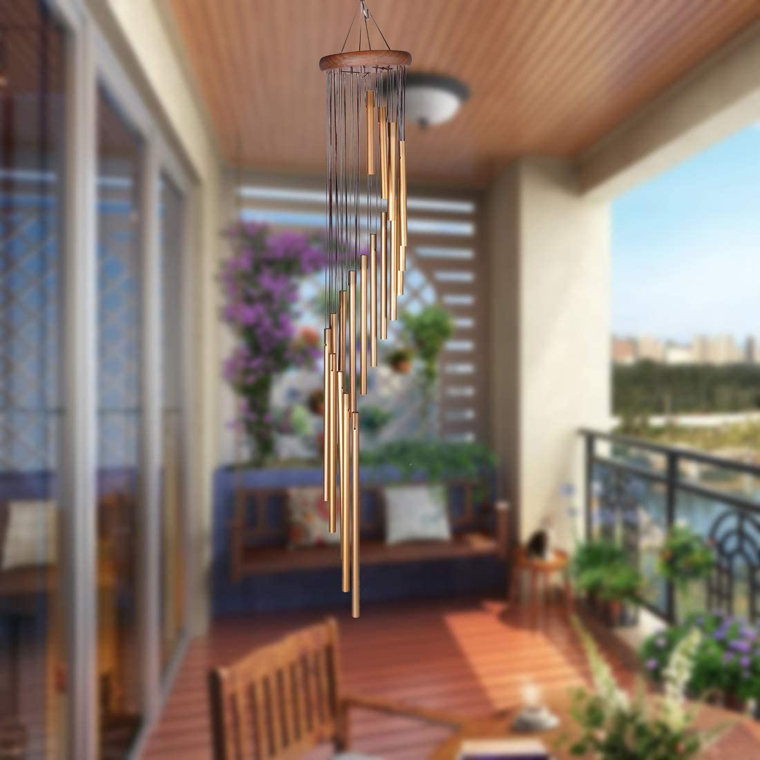 DEWEL Wind Chimes Outdoor,Amazing Grace Wind Chime with 5 Aluminum Alloy Tubes 25 Large Wind Chimes with Free 2 Pack Hooks,Home Indoor Decoration for Patio Lawn Garden Balcony Porch Backyard