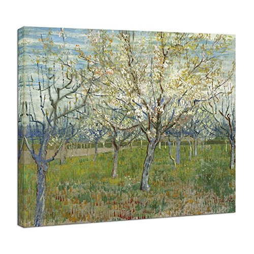 Wieco Art Orchard with Blossoming Apricot Trees Giclee Canvas Prints Wall Art of Van Gogh Famous Oil Paintings Reproduction Modern Classic Flowers Landscape Pictures Artwork for Home Decoration