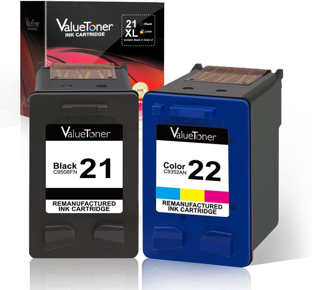Valuetoner Remanufactured Ink Cartridge Replacement 2 Pack for HP 21 C9351AN & 22 C9352AN (1 Black + 1 Tri-Color) for HP DESKJET F4180,F2210,D1560,3930,Office 4315,J3640,FAX 3180,PSC 1401 Printer