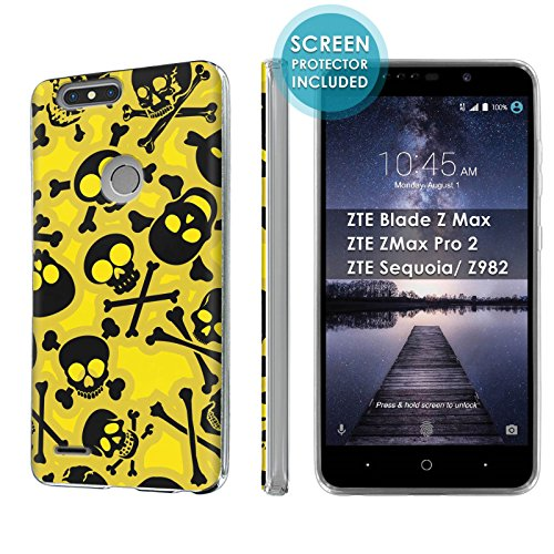 [Nakedshield] Slim Flexi Case For ZTE Blade Z Max/ZTE ZMax Pro 2/ZTE Sequoia/ Z982 [Clear] Total Armor Rubber Gel Phone Case [Screen Protector]- [Skull and Crossbones] Print Design