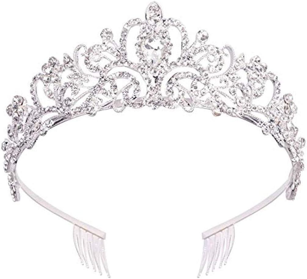 Princess Crystal Prom Women Hair Tiara Crown Headband with Comb Wedding Gift.