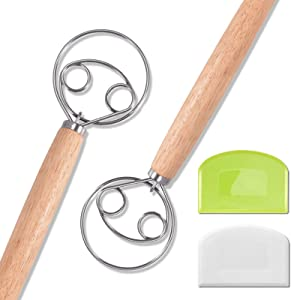 2Pcs Danish Dough Whisk, Dutch Whisks, Wooden Danish Whisk, Large 13 Inch Stainless Steel Dutch for Baking,Hand Mixer and Blender for Cooking Bread, Pastry and Pizza Dough Making - Gift for Bakers
