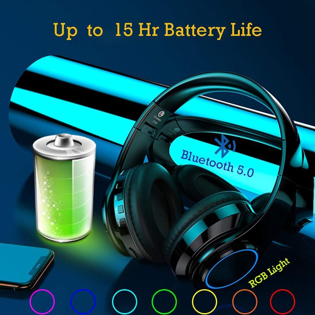 Cascos inal/ámbricos Bluetooth Plegable con Micr/ófono y Luces Led para Apple iPhone X 7lus,6,Samsung Huawei Sony Laptops Tabletas,HiFi 8 QLtech Auriculares de Diadema Cerrados Negro