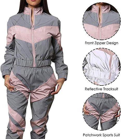 hibote Chándales Mujer Conjunto 2Piezas Pantalones Reflectantes ...