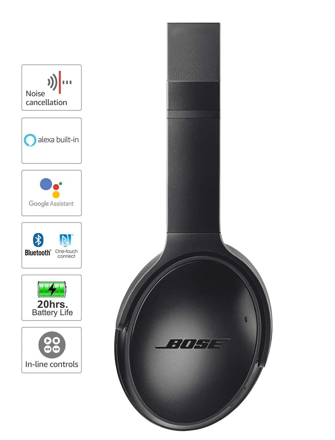 726df046a34 Amazon.com: Bose QuietComfort 35 II Wireless Bluetooth Headphones,  Noise-Cancelling, with Alexa voice control, enabled with Bose AR – Black:  Electronics