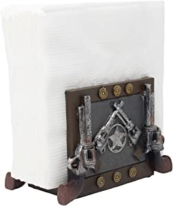 Decorative Country Western Napkin Holder with Six Shooter Pistols and Texas Star for Wild West Kitchen Countertop Or Dining Room Table Decor As Gun Gifts for Cowboys