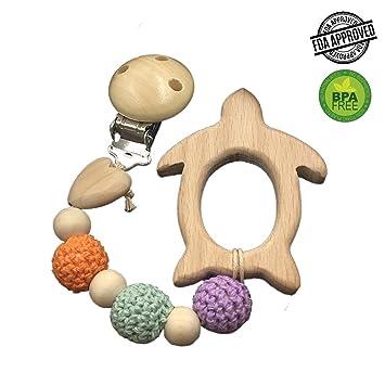 INCHANT clip de madera de haya con bebé chupete tortuga Mordedor ...