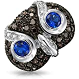 Bling Jewelry Blue CZ Wise Owl Cocktail Ring Rhodium Plated