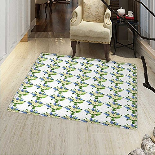 """Ivory and Blue Area Rug Carpet Wicker Basket Design with Spring Season Blooming Flowers Living Dining Room Bedroom Hallway Office Carpet 36""""x48"""" Pale Blue Ivory and Green"""