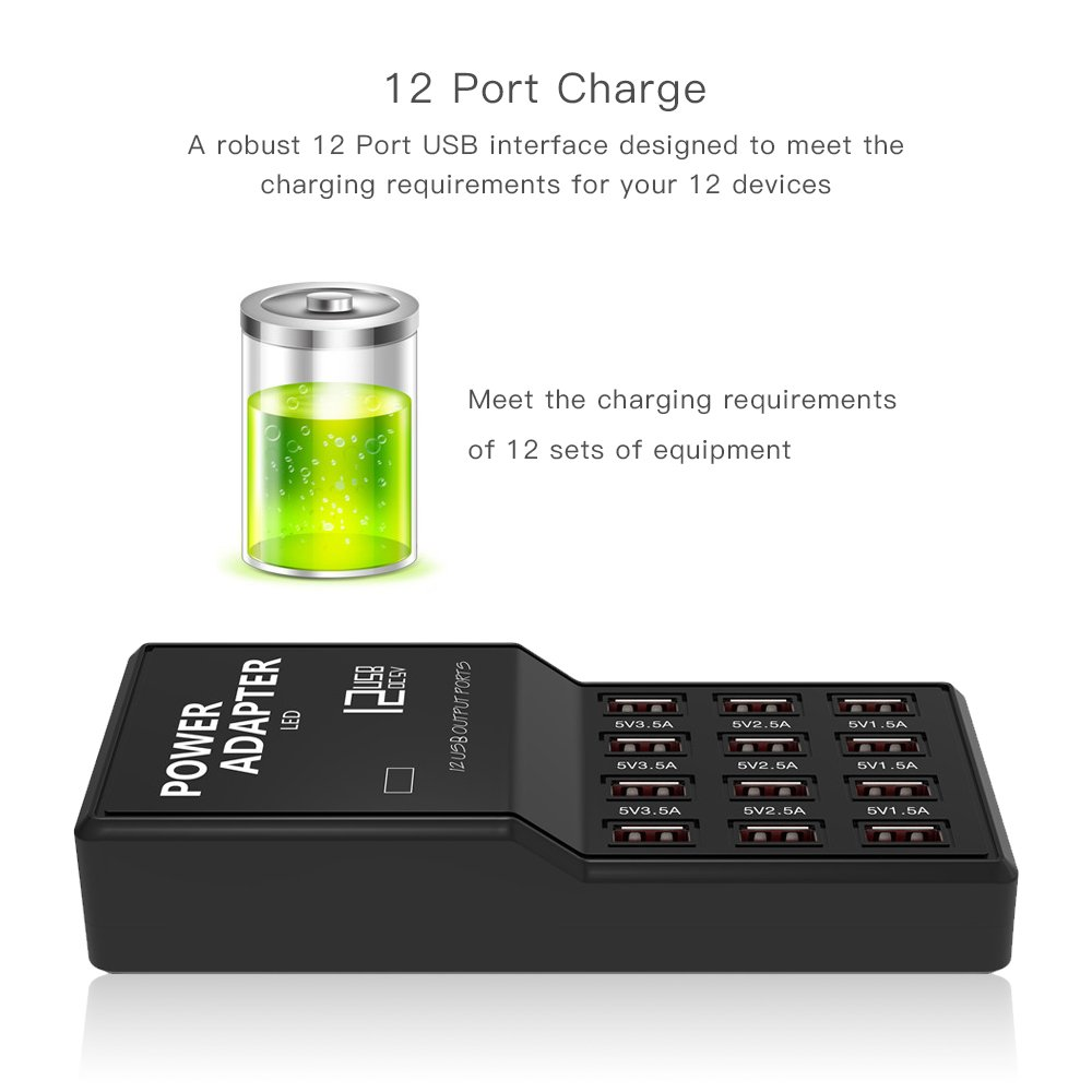 Merkmak Multi Port USB Charger, 12-Port 60W/12A Desktop USB Charging Station for iPhone X/8/7/6s/Plus, iPad Air 2/mini 3, Samsung Galaxy S6/S6 Edge and USB-Powered Devices