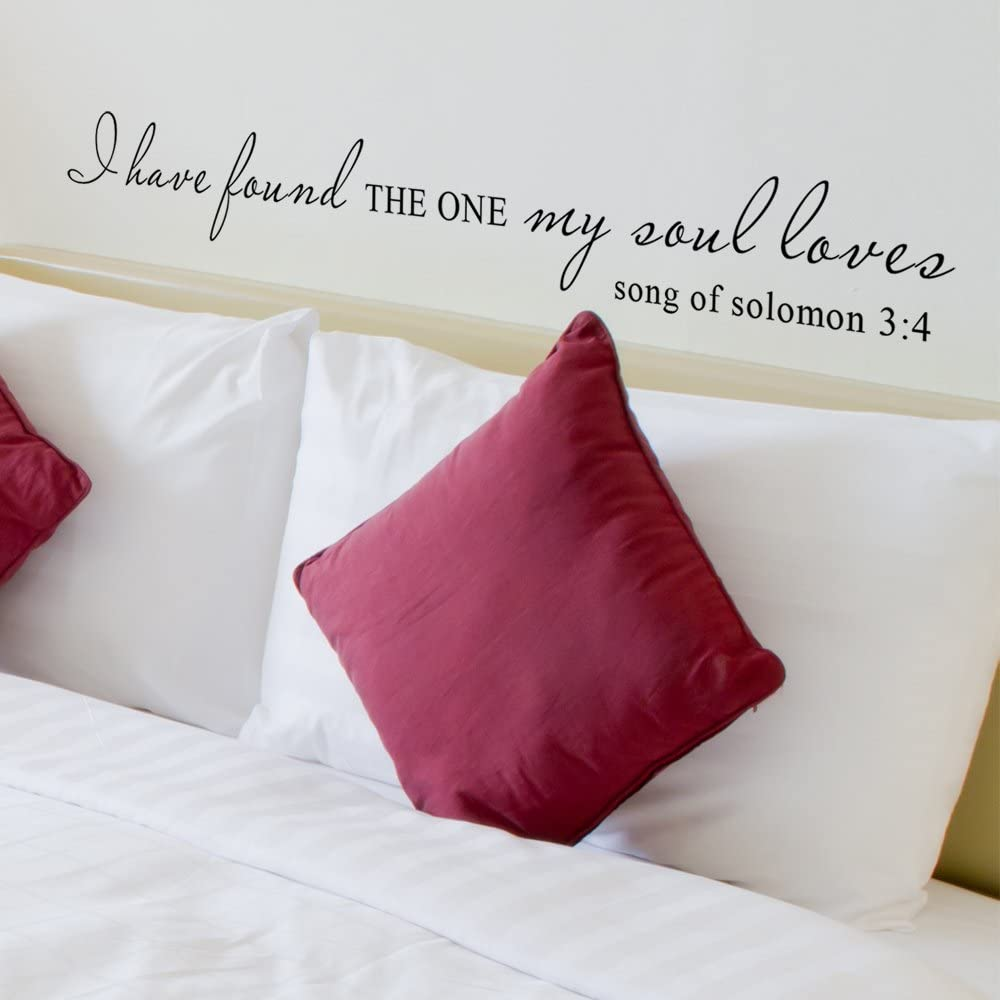 I Have Found The One Whom My Soul Loves Wall Decal Vinyl Lettering Vinyl Wall Decal Scripture Decal Home Decor Wedding Registry (34x4 Black)