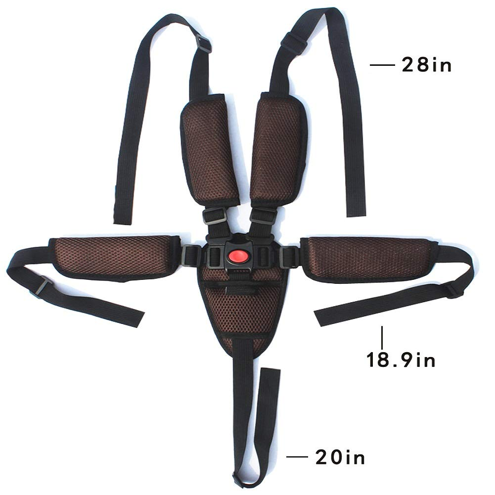 High Chair Straps,Adjustable Universal High Chair 5 point baby safe belt with Shoulder Pads Brown