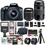 Canon EOS Rebel T6 Digital SLR Camera with EF-S 18-55mm f/3.5-5.6 IS II and EF 75-300mm f/4-5.6 III Lenses, 128GB, 2 Batteries with Travel Chargers and Corel Software Suite Bundle